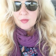 Matilda Jane dress cozy purple scarf Ted Baker Aviators and native big hair. #wiw driving through NJ. Because you can take the girl out of NJ but my hair knows its roots.
