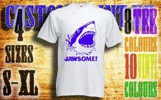 mens Jawsome shark vinyl press Tshirt sizes s-xl by customprintuk