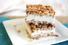"Ice Cream Crunch Bars {""crust"" of Rice Krispies, coconut, pecans and brown sugar}"