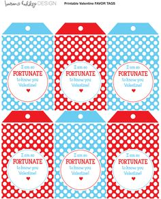 """Fortune Cookie Valentine's Day Tags """"I'm so FORTUNATE to know you"""""""