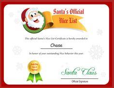 free printable santa letters,  Nice list certificate from Santa!