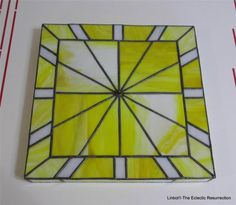 Vintage 1970s Stained Glass Wall Clock Artisan Made Yellow OOAK Needs Hands