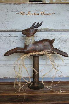 Reindeer Make-Do on Antique Bobbin.