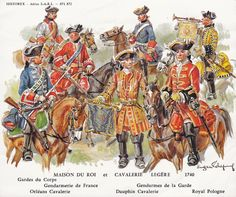 Historex Card 871 - 872 French Cavalry 1740.jpg (600×501)