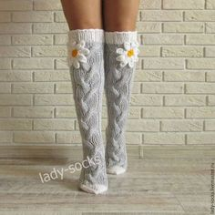 Grey socks with camomile. Handmade Grey socks with camomile. Knitting Socks, Hand Knitting, Knit Socks, Womens Wool Socks, Knitting Patterns Free Dog, Grey Socks, Winter Socks, Gifts For Your Girlfriend, Knee High Socks