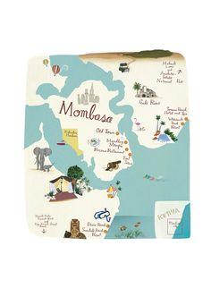 Kenya Africa, East Africa, Mombasa Kenya, Illustrated Maps, Kenya Travel, Turning 50, Travel Illustration, Adult Crafts, City Maps
