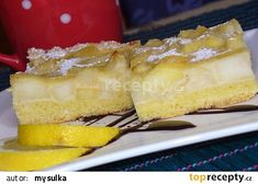 Koláč s dušenými jablíčky recept - TopRecepty.cz Camembert Cheese, Waffles, Cheesecake, Pie, Sweets, Breakfast, Desserts, Food, Lemon