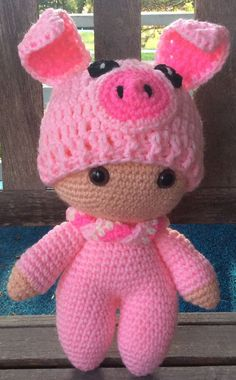Pretty Piggy * Big Head Baby Doll * Made to Order - Salvabrani Crochet Pig, Crochet Doll Pattern, Crochet For Kids, Crochet Things, Yarn Dolls, Knitted Dolls, Crochet Dolls, Amigurumi Patterns, Amigurumi Doll