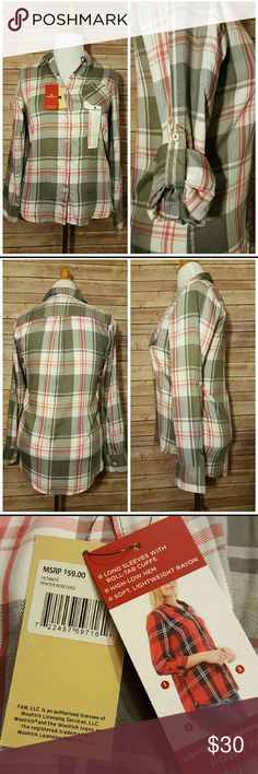 """New Womens Woolrich Button Down Pewter/Rose Plaid Brand new, with tags Roll tab sleeve Soft, lightweight Rayon High low hem line Pewter, Rose and white plaid Very loose fitting, fits like a medium/large Armpit to armpit 19"""" Shoulder to hem 26"""" (front) 29"""" (back)  Bundle pricing available  Items ship within 24 hours  Low ball offers not accepted Woolrich Tops Button Down Shirts"""