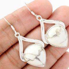 White Howlite 925 Sterling Silver Earrings Jewelry WHOE123