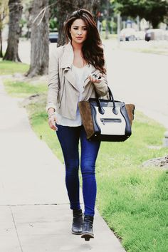 Shay Mitchell. Love this style although i'm not sure i'd ever be able to pull it off.