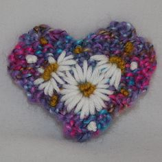 Embroidered Brooch Multi Heart