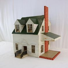 Antique Colonial Revival Wooden Doll House, Salesman Sample? 1920s Cape Cod