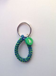 Items similar to Blue and Green Trifish Fishtail Rubber Band Rainbow Loom Keychain with Letter H Charm on Etsy Rainbow Loom Keychain, Rainbow Loom Bracelets, Rubber Bands, Fishtail, Keychains, Personalized Items, Unique Jewelry, Handmade Gifts, Green