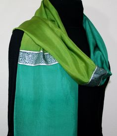 Hand Painted Silk Scarf Emeralds and Silver. Silk Scarf in Green. Size 14x70. Made in Colorado. 100% silk. MADE TO ORDER.. $59.00, via Etsy.