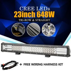 7D 23INCH 648W CREE LED LIGHT BAR COMBO SPOT FLOOD OFFROAD 4X4WD FOR JEEP TRUCK