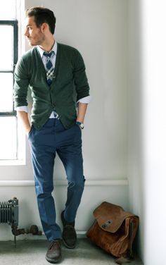 green cardigan, plaid tie