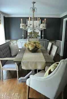 Love the dramatic gray walls in this beautiful dining room