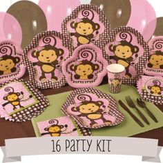 Pink monkey baby shower theme for girls