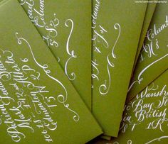 Hand Calligraphy Envelope Addressing -  White Ink - Pretty Flourish at the bottom -