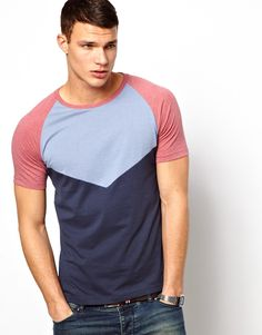 ASOS | ASOS T-Shirt With Colour Block Cut And Sew Panels at ASOS