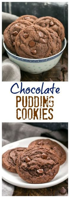 Dark Chocolate Pudding Cookies | Soft Chewy Cookies with a triple dose of chocolate #cookies #pudding #chocolatechipcookies