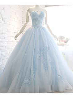Ball+Gown+Wedding+Dress+Sweep+/+Brush+Train+Strapless+Organza+with+Appliques+–+USD+$+485.00