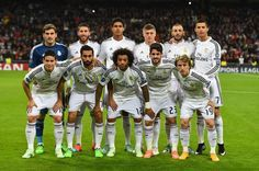 Real Madrid pose for a team photo during the UEFA Champions League Group B match between Real Madrid CF and Liverpool FC at Estadio Santiago Bernabeu on November 4, 2014 in Madrid, Spain.