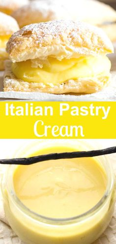 Italian Pastry Cream Italian Pastry Cream, an easy Italian vanilla cream filling, the perfect filling for tarts, pies or cakes. A simple delicious Italian classic. Italian Pastries, Italian Desserts, Just Desserts, Delicious Desserts, French Pastries, Fast And Easy Desserts, Gourmet Desserts, Health Desserts, Summer Desserts