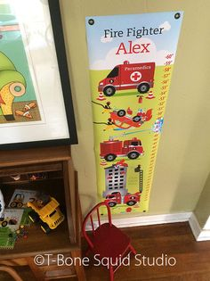 Fireman Growth Chart for Kids Boys by TBoneSquid on Etsy