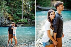 Adventurous river engagement photos featuring all four seasons. @RyanFlynnPhoto www.ryanflynnphotography.net http://greenweddingshoes.com/adventurous-engagement-shoot-in-the-mountains-kate-adam/pacific