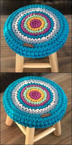 Creative & Inspiring Crochet Designs For Start-up Beginners Diy Crafty Stool Cover Crochet, Crochet Table Mat, Crochet Mat, Crochet Pouch, Crochet Home, Cute Crochet, Crochet Crafts, Easy Crochet, Crochet Projects