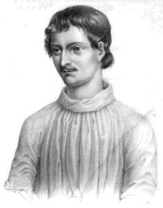 Giordano Bruno (1548–1600), philosopher; his major metaphysical works, De la causa, principio, et Uno (1584) and De l'infinito universo et Mondi (1584), were published in France