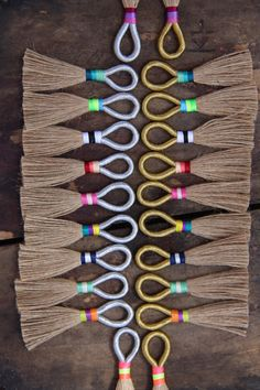 Natural Jute Tassels with Metallic Loop Tri-Color Binding