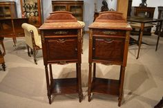 A Good Pair Of Plum Pudding Mahogany French Marble Topped Bedside Cabinets