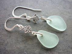 Sea Glass Earrings - Sea Foam Sterling Celtic Beach Seaglass on Etsy, Sold