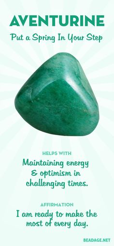 """Green aventurine is known as the """"Lucky Talisman"""" or """"Stone of Opportunity"""" for its good luck properties. Gems And Minerals, Crystals Minerals, Crystals And Gemstones, Stones And Crystals, Gem Stones, Crystal Healing Stones, Quartz Crystal, Crystal Magic, Meditation Crystals"""