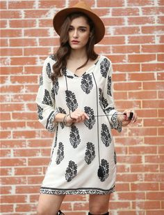 SheIn Female Hot Sale Loose Clothing Casual Summer White Long Sleeve Lacing Round Neck Floral Print Shift Mini Dress - STYLANDO