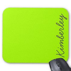 Bright Neon Green Monogram Trendy Fashion Colors Mouse Pads by girly_paradise