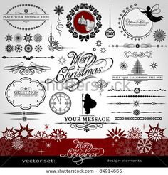 stock vector : Christmas and New Year decorative vector set, silhouettes of Santa Claus and fairy, calligraphic elements, vintage and retro ornaments, banners, text, dividers with snowflakes and stars for design