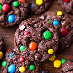 These decadent dark chocolate monster cookies are full of chocolate peanut butter, oats, chocolate chips, and M&M's.