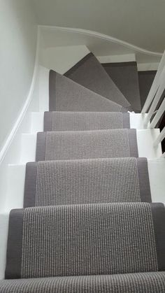 Grey Stair Runner Grey Carpet Runner to Stairs: Painted Staircases, Painted Stairs, Spiral Staircases, Curved Staircase, Carpet Stair Treads, Carpet Stairs, Hall Carpet, Carpet Runner On Stairs, Staircase Runner