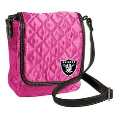 "NFL Oakland Raiders Pink Quilted Purse by Little Earth. $8.61. 11"" - 24"" Faux Leather Handle Drop Length. Flap Closure with Magnetic Snap. Inner Side Pocket for Organization. Quilted Cross Bodied Purse in Satin-Like Pink Quilting. NFL Oakland Raiders Pink Quilted Purse. Save 64% Off!"