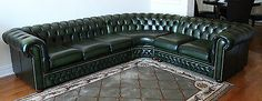 Saxon Antique Green Leather Corner Sofa Chesterfield Sectional England