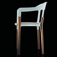 Magis - Aktionsset Steelwood Armlehnstuhl + Fell - buche, weiß/Island Lammfell gratis!/Beine und Sitzfläche aus Buche natur/mit Filzgleitern