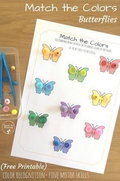 Match the Colors Butterflies, fun learning and fine motor activity for preschoolers or kindergarteners!