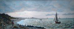 Frédéric Bazille (1841-1870) | Marine à Sainte-Adresse, 1865 | Huile sur toile 58x140cm