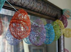 Colourful Easter egg garland twine string