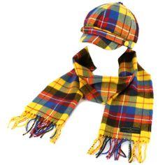 Ladies Winter Tartan Plaid Newsboy Cap Hat Softer Cashmere Scarf Gift Set Yellow