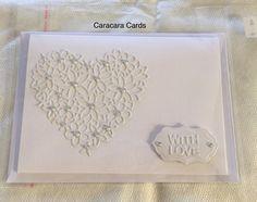 I Handmade card with Heart die IO DIE054-S  Shape label die cut   With Love sentiment